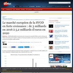 Le marché européen de la SVOD en forte croissance : de 3 milliards en 2016 à 5,2 milliards d'euros en 2020 - ZDNet