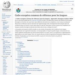 Cadre européen commun de référence pour les langues