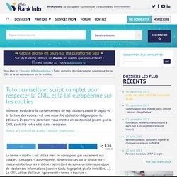 Loi européenne sur les cookies : tuto et script pour webmasters