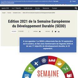 Edition 2021 de la Semaine Européenne du Développement Durable (SEDD)