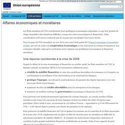 Domaines d'action de l'Union européenne – Affaires économiques et monétaires