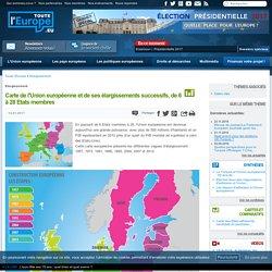 Carte de l'Union européenne et de ses élargissements successifs, de 6 à 28 Etats membres