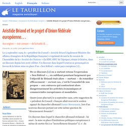 Aristide Briand et le projet d'Union fédérale européenne…