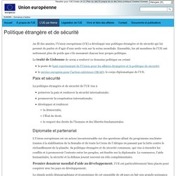 Domaines d'action de l'Union européenne – Politique étrangère et de sécurité