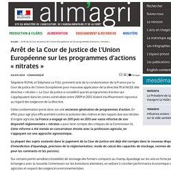 MAAF 04/09/14 Arrêt de la Cour de Justice de l'Union Européenne sur les programmes d'actions « nitrates »