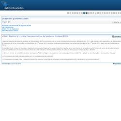PARLEMENT EUROPEEN - Réponse à question E-004786-14 Bisphénol A — Avis de l'Agence européenne des substances chimiques (ECHA)