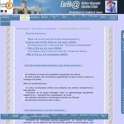 Sections européennes : les textes: Site académique d'Histoire Géographie