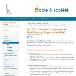 Bac 2021 : sections européennes et disciplines non linguistiques (DNL) - ÉCOLE ET SOCIÉTÉ
