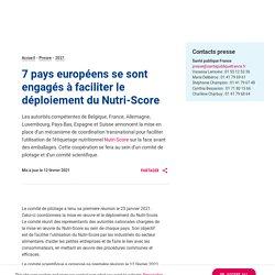 SANTE PUBLIQUE FRANCE 12/02/21 7 pays européens se sont engagés à faciliter le déploiement du Nutri-Score