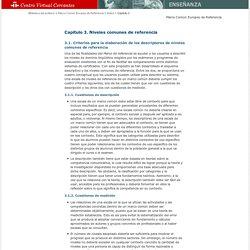 Marco común europeo de referencia. Capítulo 3. Niveles comunes de referencia.