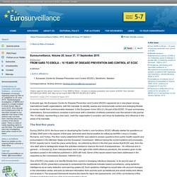 EUROSURVEILLANCE 17/09/15 From SARS to Ebola – 10 years of disease prevention and control at ECDC.