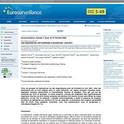 EUROSURVEILLANCE Oct 2002 Cas groupés de Leptospirose à Rochefort, juin 2001