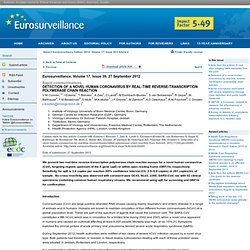 EUROSURVEILLANCE 27/09/12 Detection of a novel human coronavirus by real-time reverse-transcription polymerase chain reaction