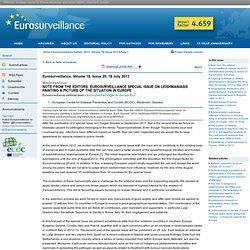 Note from the editors: Eurosurveillance special issue on leishmaniasis painting a picture of the situation in Europe
