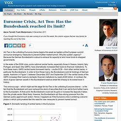 Eurozone Crisis, Act Two: Has the Bundesbank reached its limit?