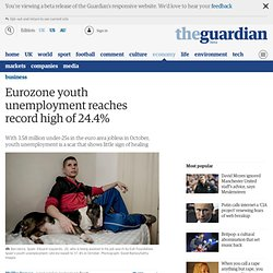 Eurozone youth unemployment reaches record high of 24.4%