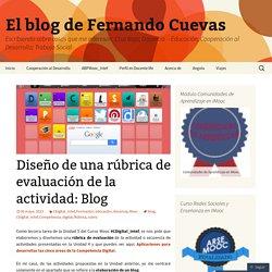 Diseño de una rúbrica de evaluación de la actividad: Blog