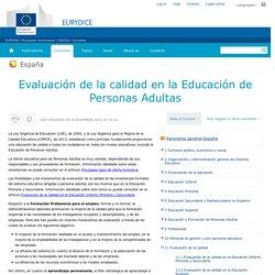 España:Evaluación de la calidad en la Educación de Personas Adultas