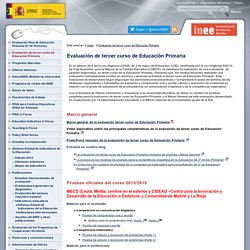 Evaluación de tercer curso de Educación PrimariaInstituto Nacional de Evaluación Educativa