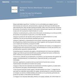 Empleo Asistente Técnico Monitoreo Y Evaluación Quito - Consejo Noruego Para Refugiados