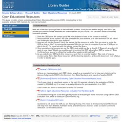 Evaluate OER - Open Educational Resources - Research Guides at Goucher College