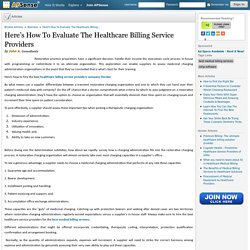Here's How To Evaluate The Healthcare Billing Service Providers