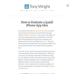 How to Evaluate a (paid) iPhone App Idea - Tony Wright's Startup Front-End -