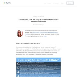 The CRAAP Test: An Easy & Fun Way to Evaluate Research Sources - RefME