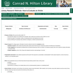 How to Evaluate an Article - Library Research Methods - LibGuides at Conrad N. Hilton Library