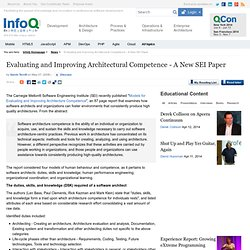 Evaluating and Improving Architectural Competence - A New SEI Pa