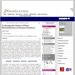J. Nutr. March 1, 2002 Evaluating the Impact of Plant Biofortification on Human Nutrition