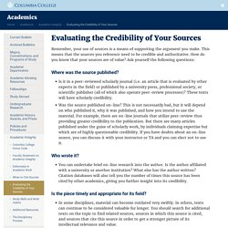 Evaluating the Credibility of Your Sources