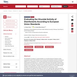 VIRUSES 24/03/21 Evaluating the Virucidal Activity of Disinfectants According to European Union Standards