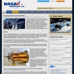 Evaluating NASA's Futuristic EM Drive