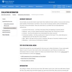 Evaluating Social Media - Evaluating Information - Guides at Johns Hopkins University