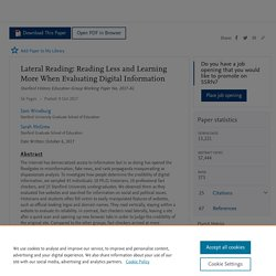 Lateral Reading: Reading Less and Learning More When Evaluating Digital Information by Sam Wineburg, Sarah McGrew