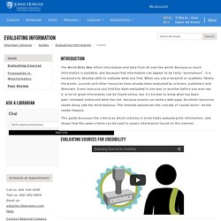 Home - Evaluating Information Found on the Internet - Library Guides at Johns Hopkins University