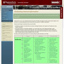 Evaluating internet information