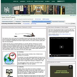 Evaluating Information Found Online - Upper School Projects - LibGuides Jump Page at Harpeth Hall School