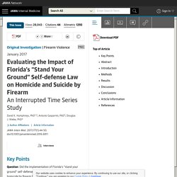 """Impact of Florida's """"Stand Your Ground"""" Self-defense Law on Homicide and Suicide by Firearm"""