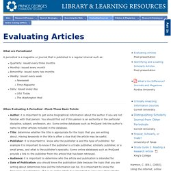 Evaluating Articles - Research Process - LibGuides at Prince George's Community College
