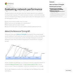 Evaluating network performance