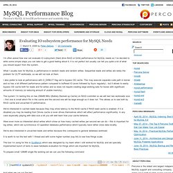 Evaluating IO subsystem performance for MySQL Needs | MySQL Performance Blog