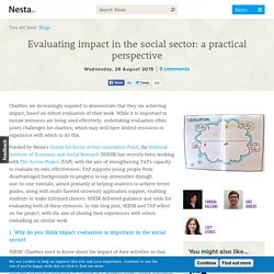 Evaluating impact in the social sector: a practical perspective