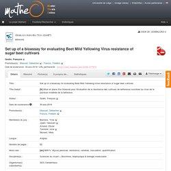 uliege_be 30/08/19 Présentation d'une thèse - [fr] Mise en place d'un bioessai pour l'évaluation de la résistance des cultivars de betteraves sucrières au virus de la jaunisse modérée de la betterave.