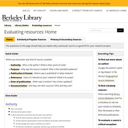 Home - Evaluating resources - Library Guides at UC Berkeley