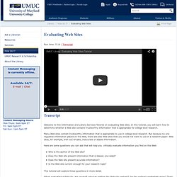 Evaluating Web Sites - UMUC Library