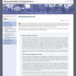 Evaluating Web Sources § Harvard Guide to Using Sources