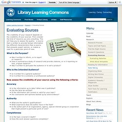 Evaluating Sources « Library Learning Commons