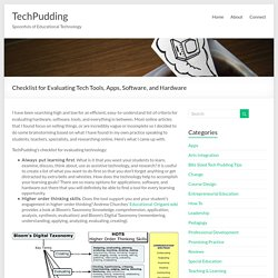 Checklist for Evaluating Tech Tools, Apps, Software, and Hardware « TechPudding